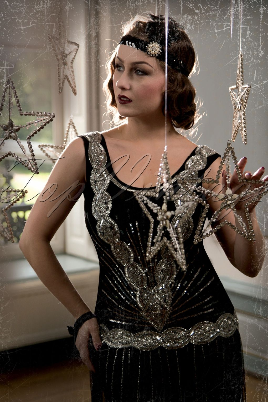 Black flapper dress with frill neckline