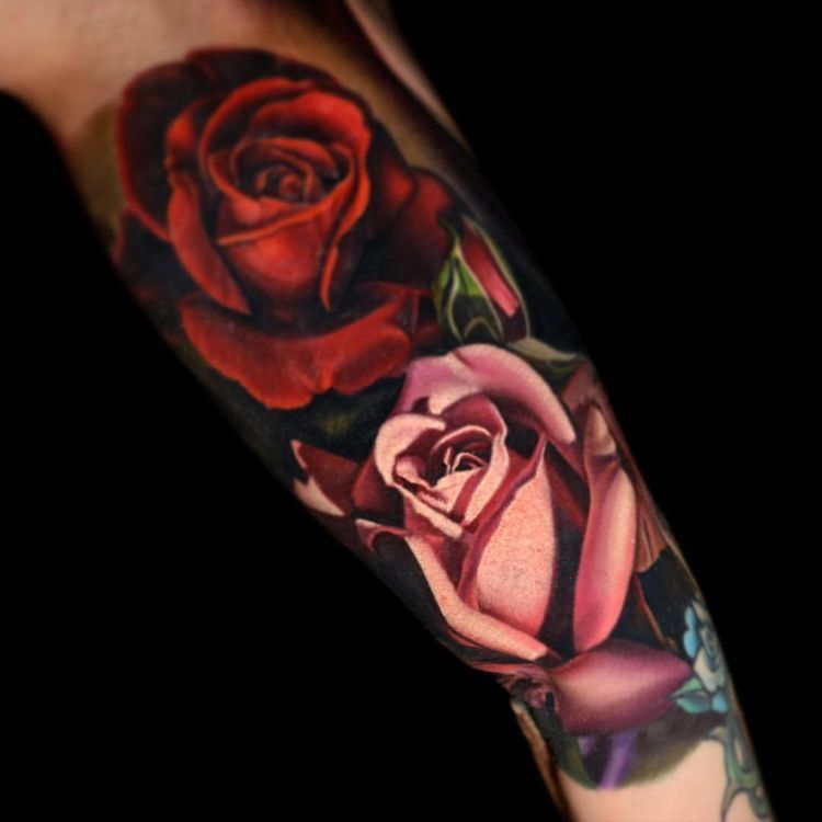 Color roses tattoo tattoos pink rose tattoos rose