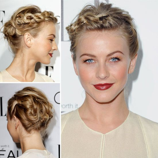 Try Julianne Hough S Braided Updo For Short Hair Hair Styles Short Hair Updo Julianne Hough Short Hair