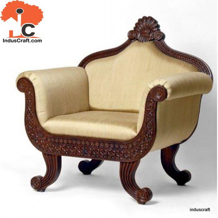 Single Sofa Set Designs: Graceful In Mahogany Shade, The Single Seater Sofa Is