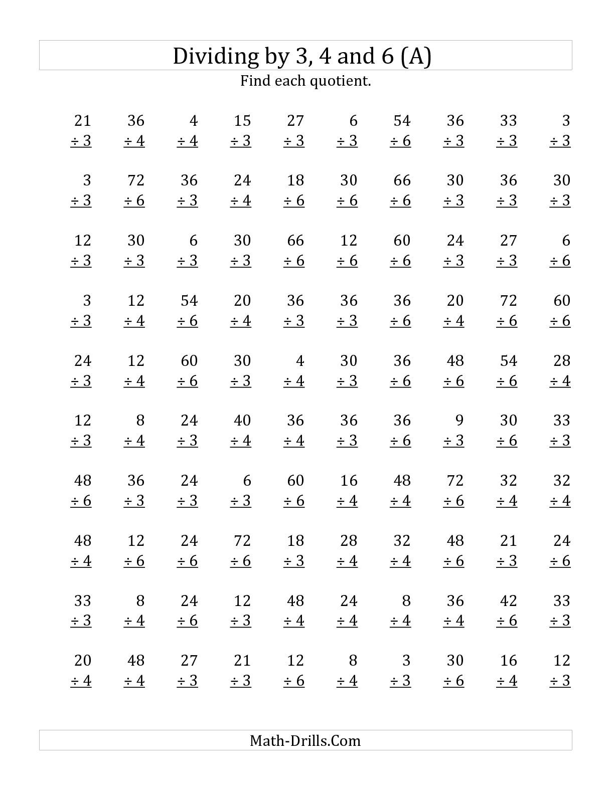 The Dividing By 3 4 And 6 Quotients 1 To 12 A Math