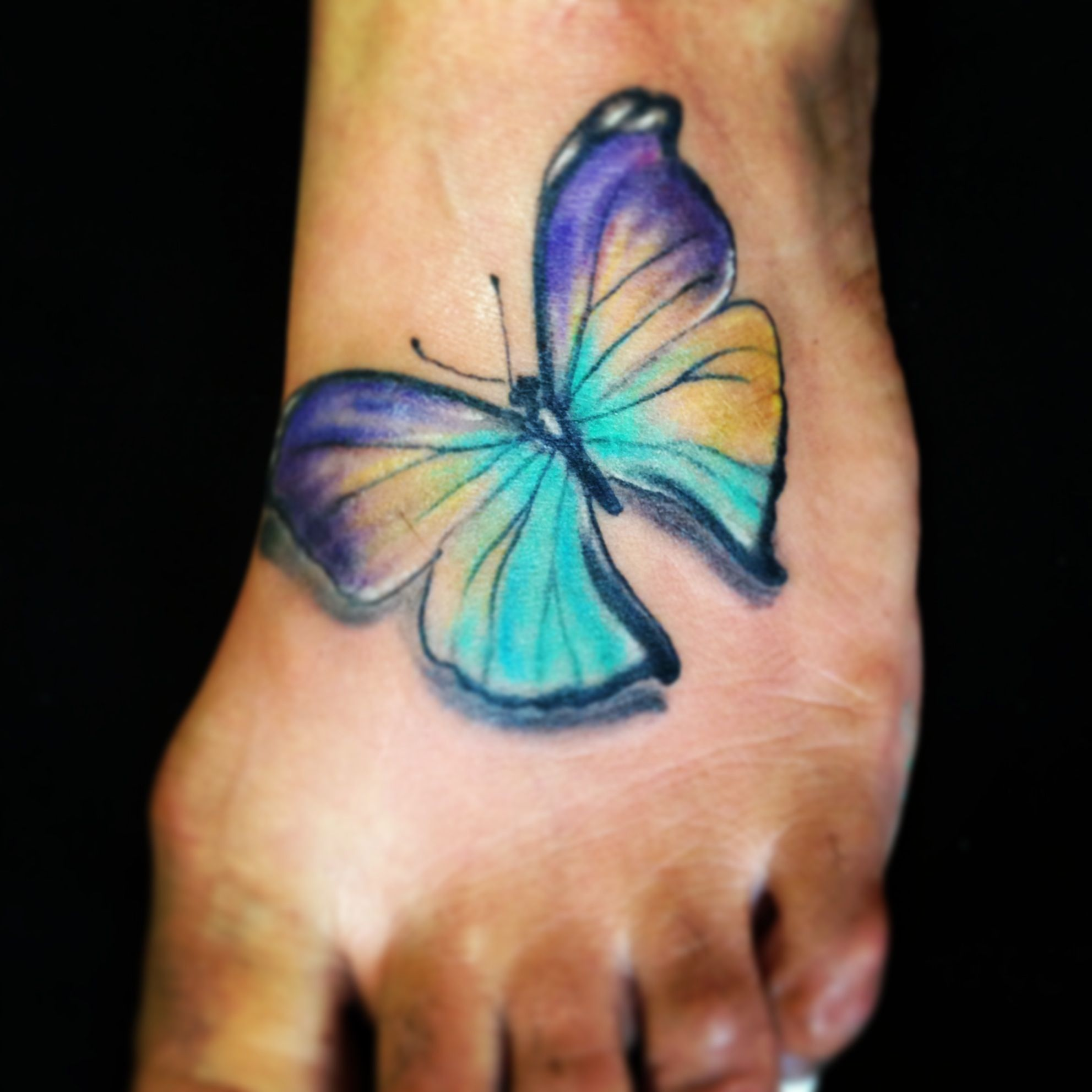 The o jays butterfly tattoos and clothes on pinterest - Butterfly Tattoo On Foot By Spirits In The Flesh Tattoo San Francisco Ca