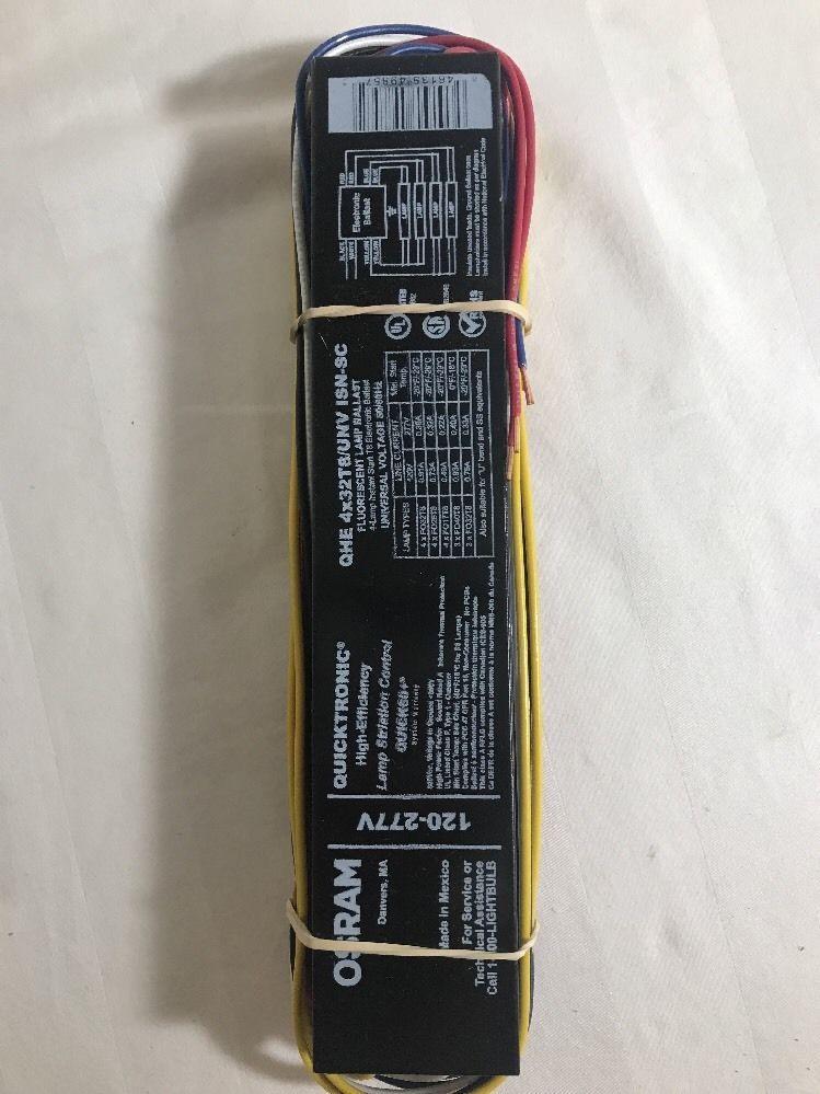 Fluorescent Ballast T8 4 Lamp Qhe4x32t8 Unv Isn Sc Electronic120 277v Sylvania Ebay Sylvania Ebay Ballast