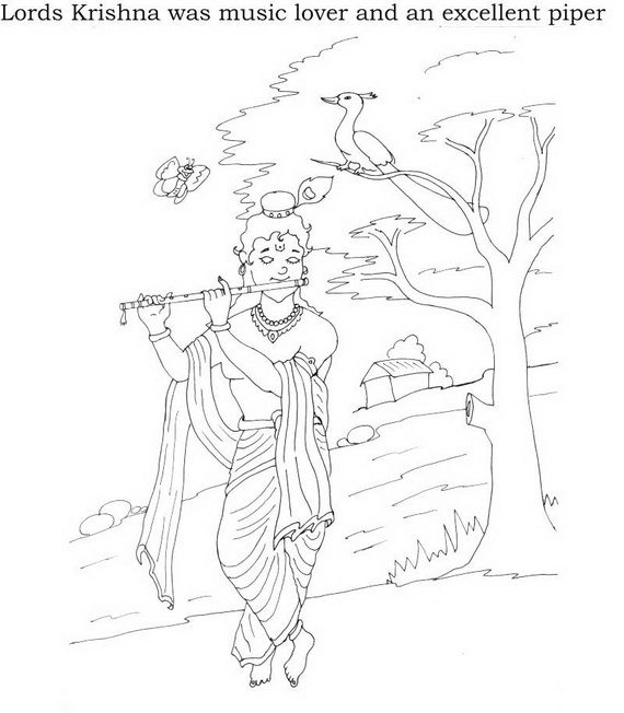 shri krishna janmashtami coloring printable pages for kid _08