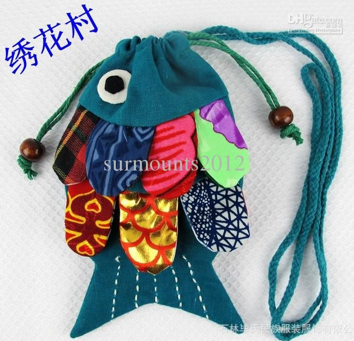 Women shoulder fabrics handmade patchwork Handbag Messenger bag Mobile phone bag feather fish bag