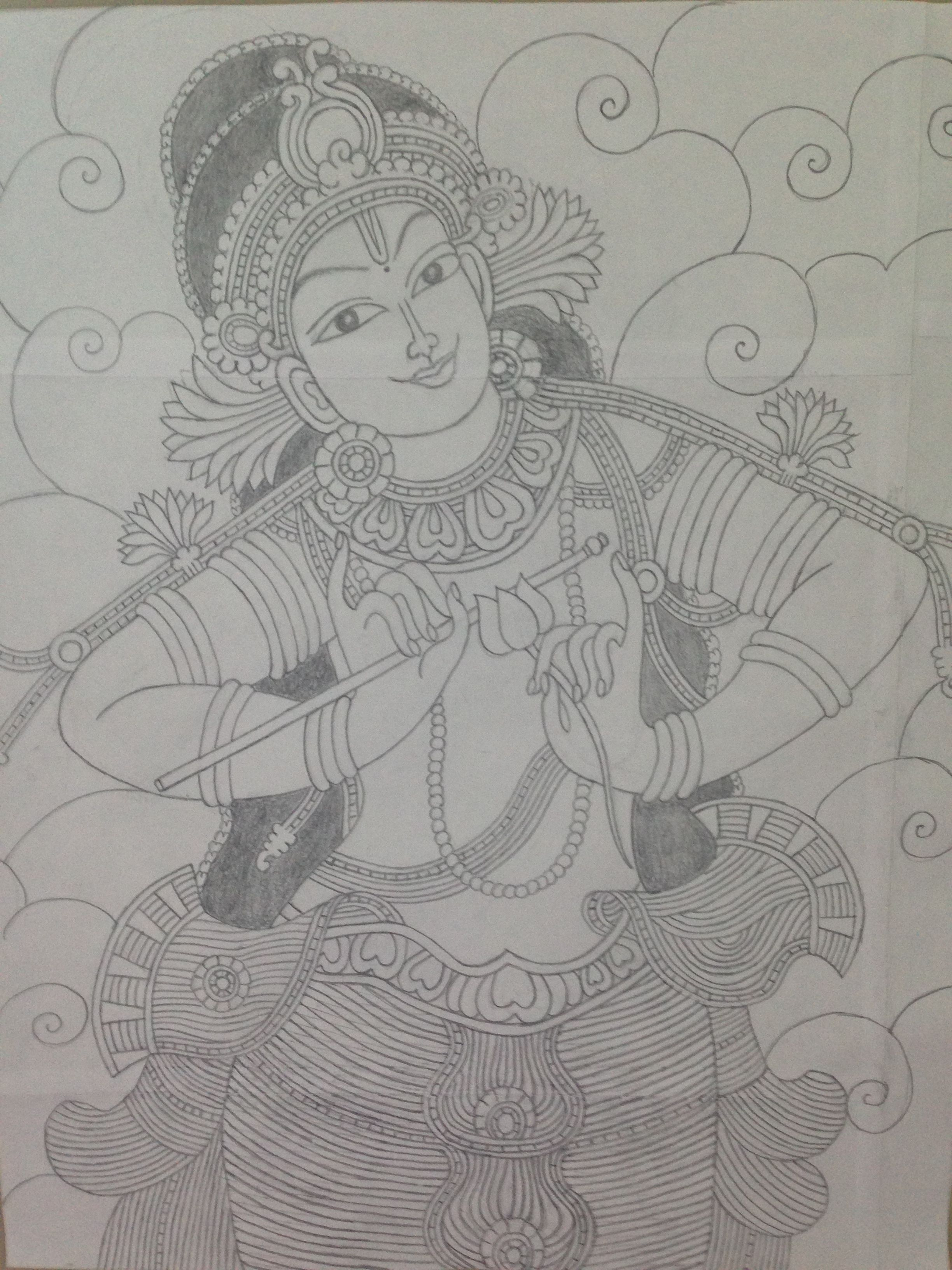 Krishna mural pencil sketch
