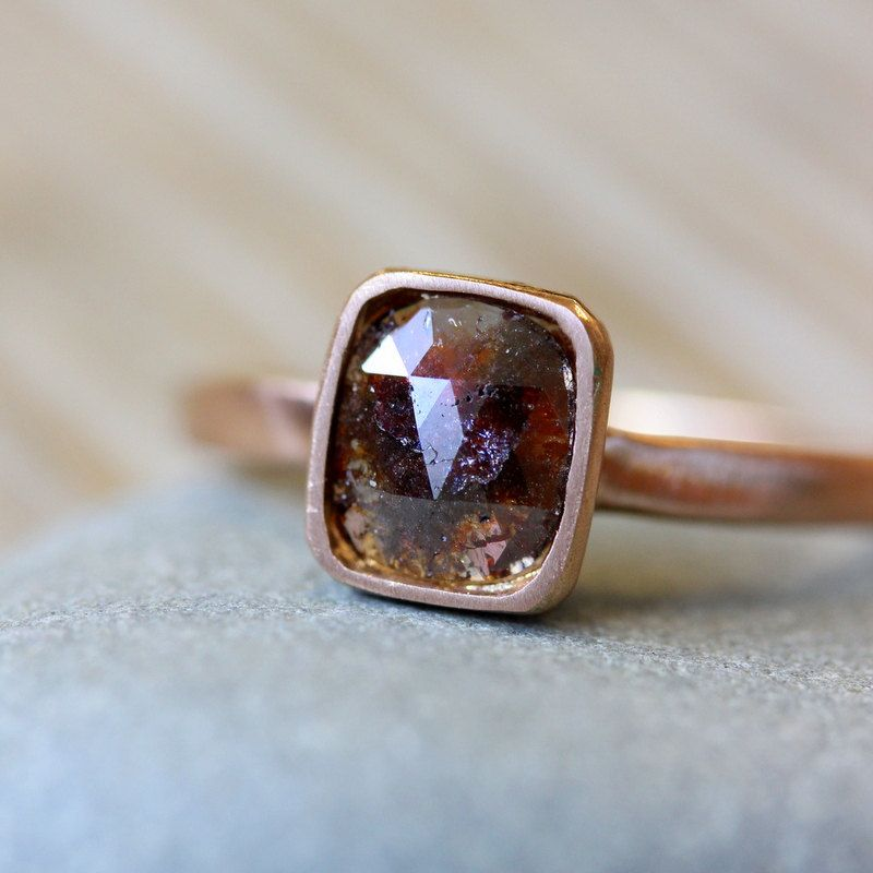 Rose Cut Diamond and 14k Rose Gold Ring, Cushion Cut Chocolate Diamond Ring, Made in Your Size. $1,398.00, via Etsy.