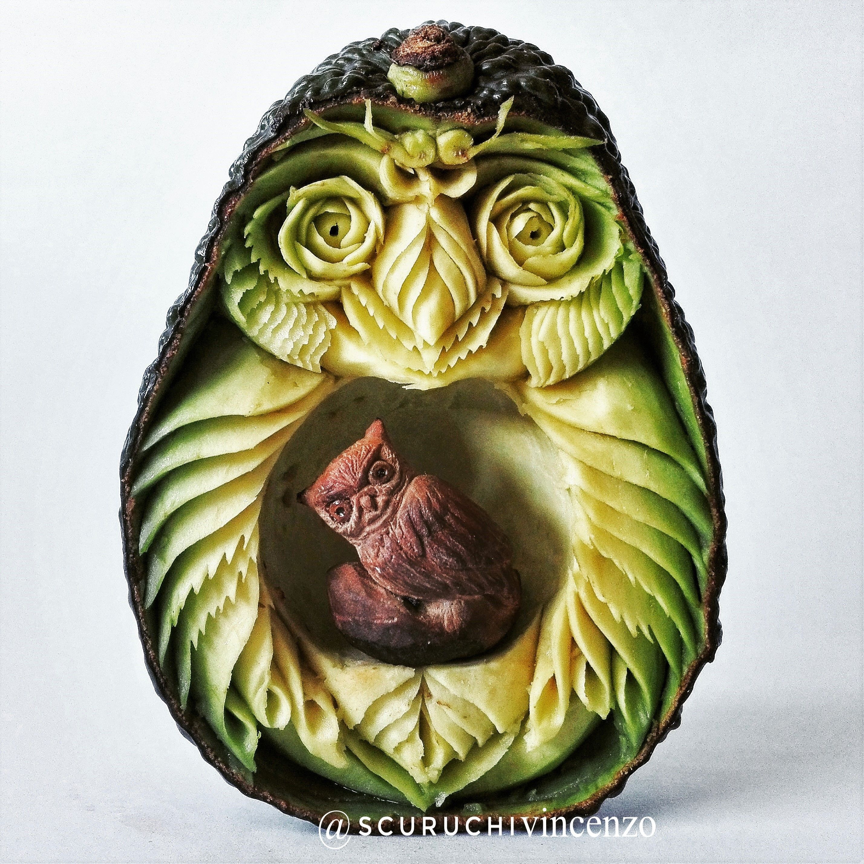 Avocado Owl Vegetable Carving Fruit And Vegetable Carving