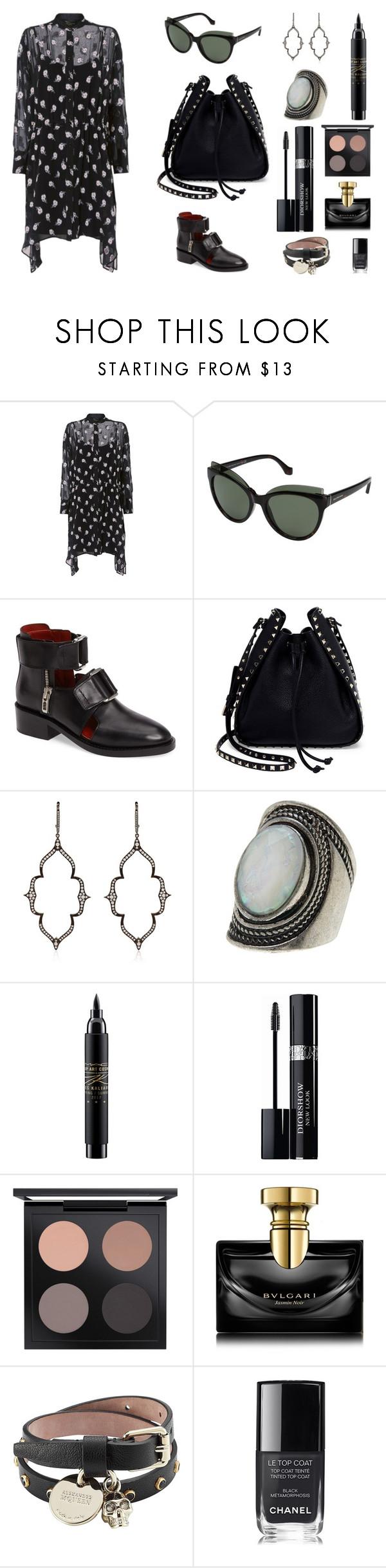"""Dress 2"" by jessblock on Polyvore featuring moda, rag & bone, Balenciaga, 3.1 Phillip Lim, Valentino, Stone Paris, Free Press, MAC Cosmetics, Christian Dior e Bulgari"