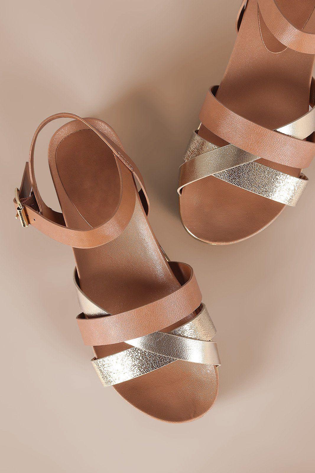 a78deb2608dc Strappy Metallic Trim Ankle Strap Flatform Sandal