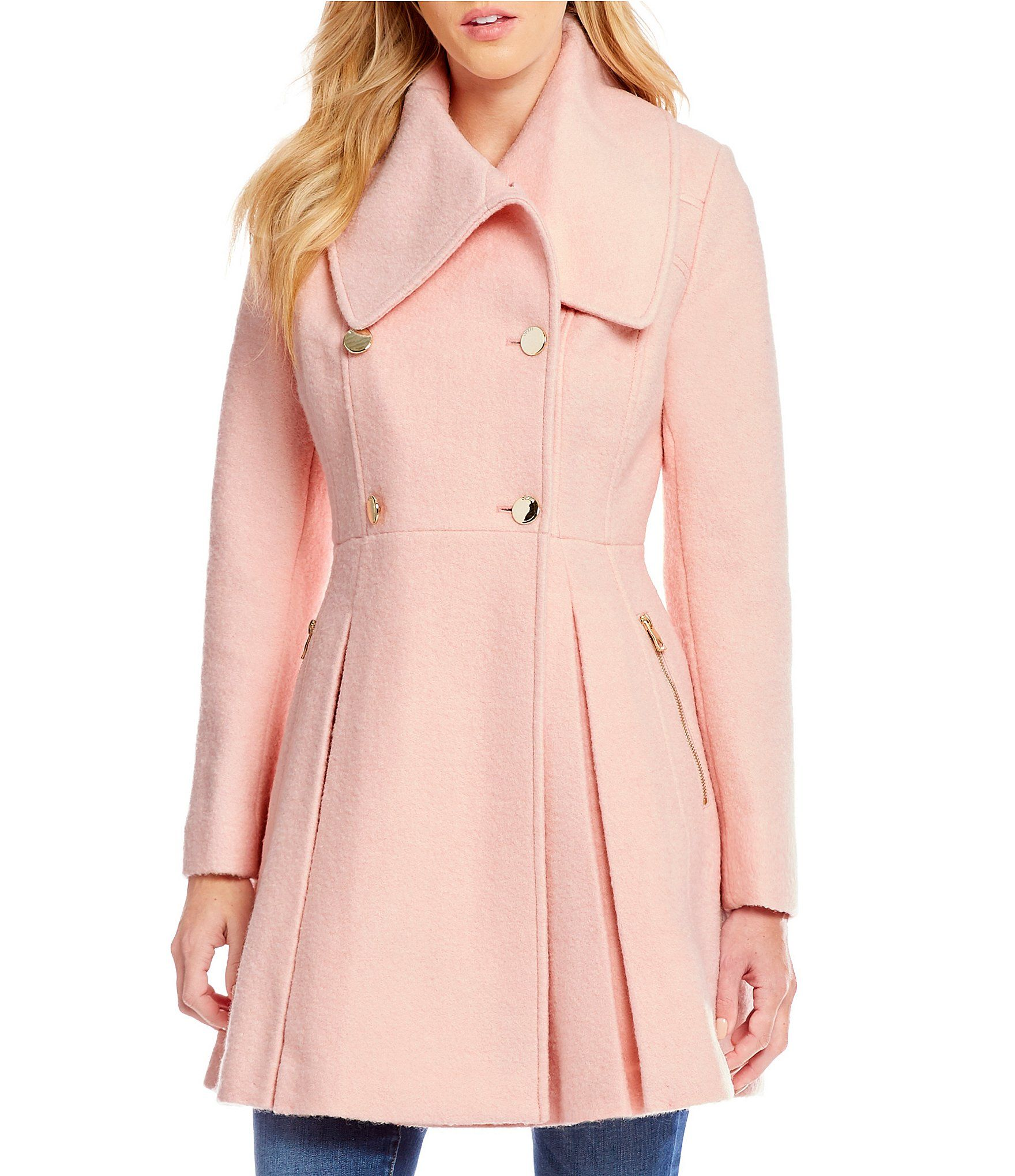 Guess Shawl Collar Double Breasted Fitandflare Wool Peacoat Dillards Coats For Women Wool Peacoat Coat [ 2040 x 1760 Pixel ]