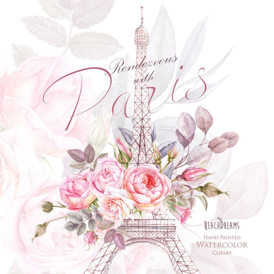 Paris Watercolor Clipart, France, Eiffel tower, France