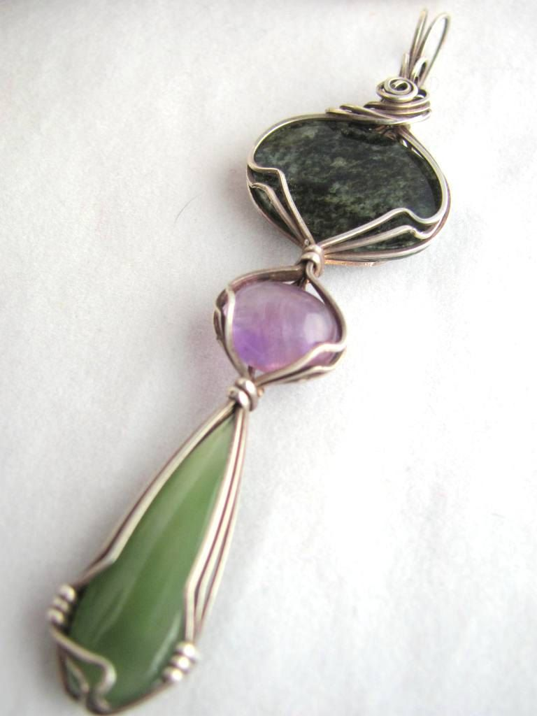Multi Stone Pendant, Jade and Amethyst Pendant in Oxidized Sterling ...