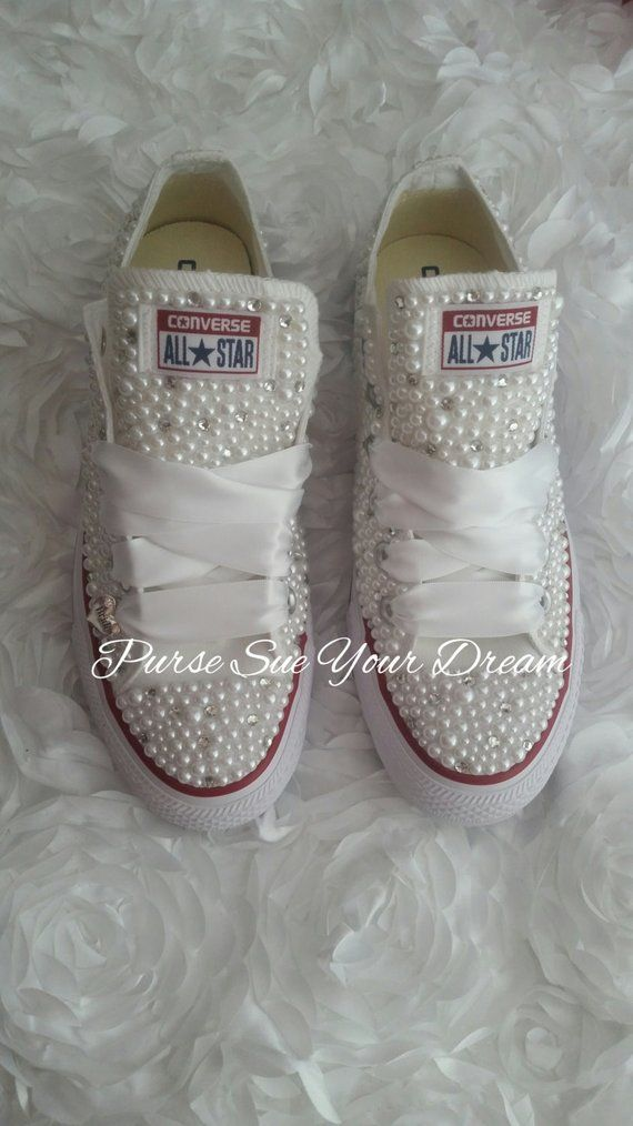 93f4049f1aa4 Bridal Pearl and Crystal Rhinestone Custom Converse Wedding Shoes - Custom  Shoes - Bride Shoes - Pea