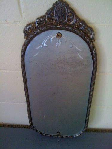 Antique Silver Bath Accessories: Stunning 1935 Antique Etched Mirror With Silver Gold