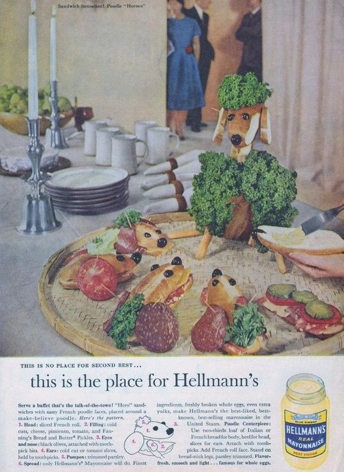 The Male Gaze enacted with sandwich hounds and a parsley poodle.