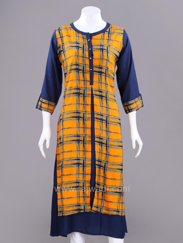 Cotton Rayon Slit Kurti with Checks Pattern   rajwadi  kurtis ... 490653fc1