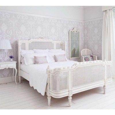 Provencal Lit Lit White Rattan Bed Französische möbel