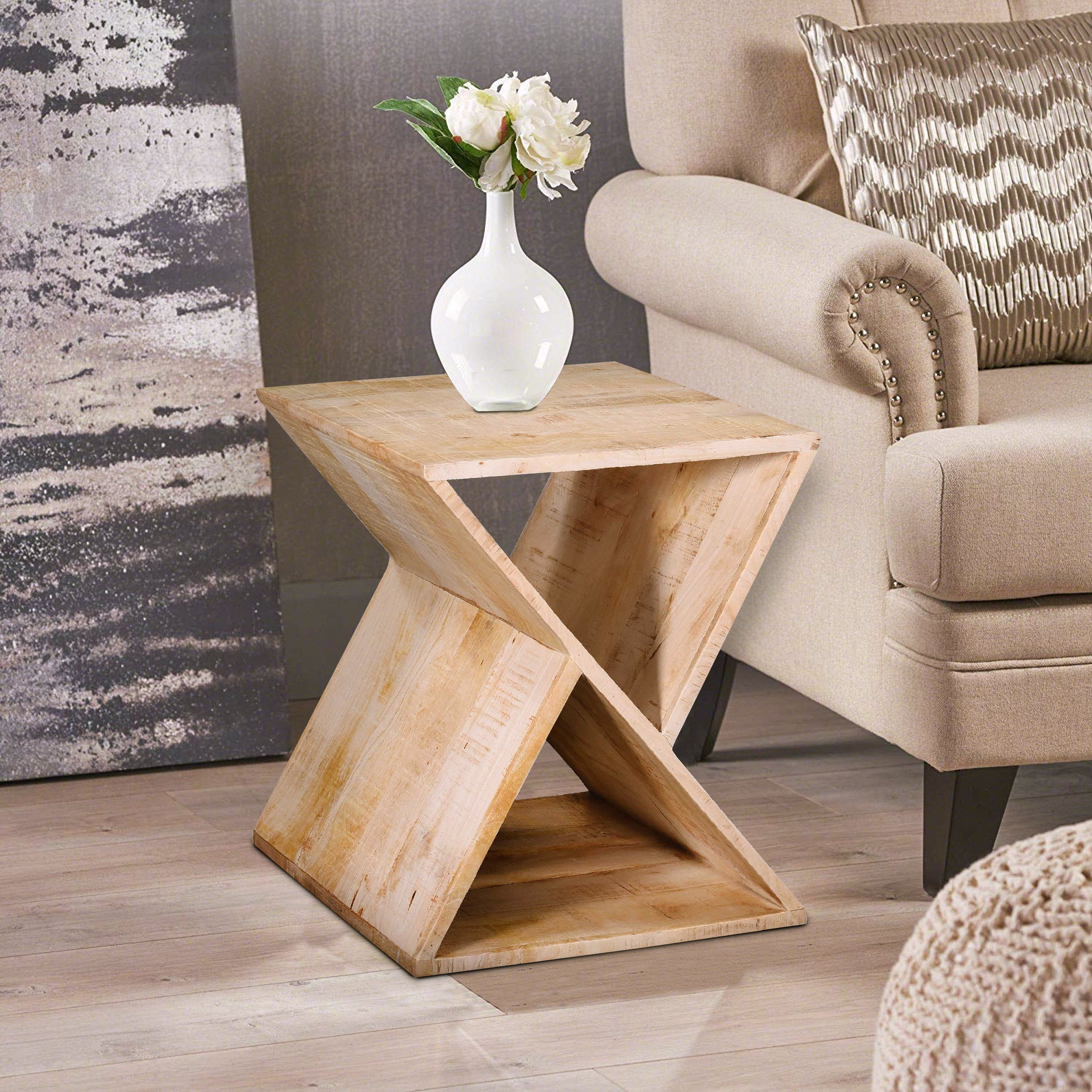 Handcrafted Mango Wood Z Shaped End Table With Open Bottom Shelf Brown By The Urban Port In 2021 Side Table Wood Home Interior Accessories Wood End Tables
