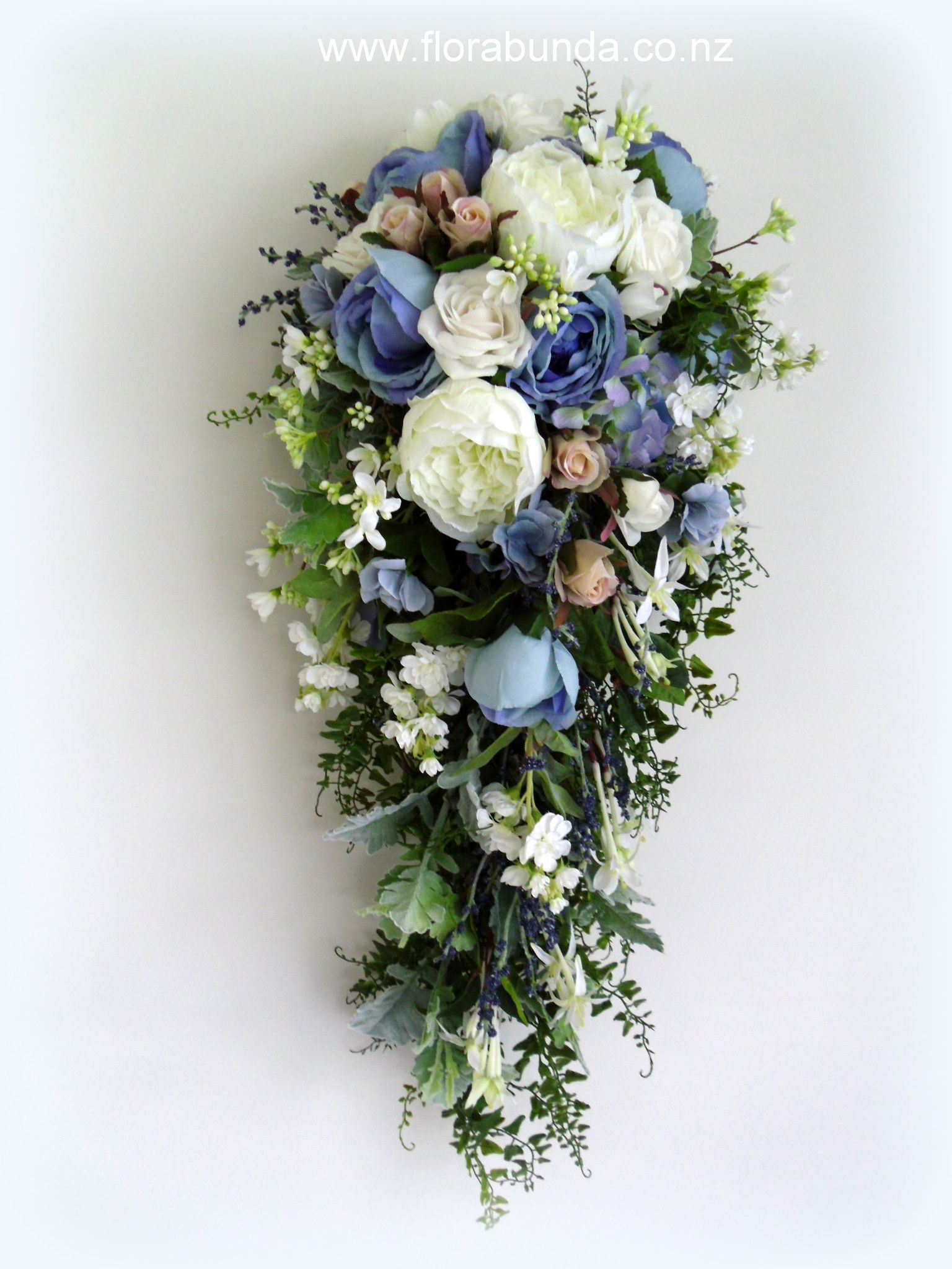 Long Trailing Bouquet In Blues Whites And Soft Antique Pink All