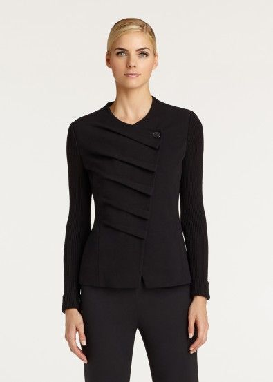 Lafayette 148 Punto Milano gathered front jacket