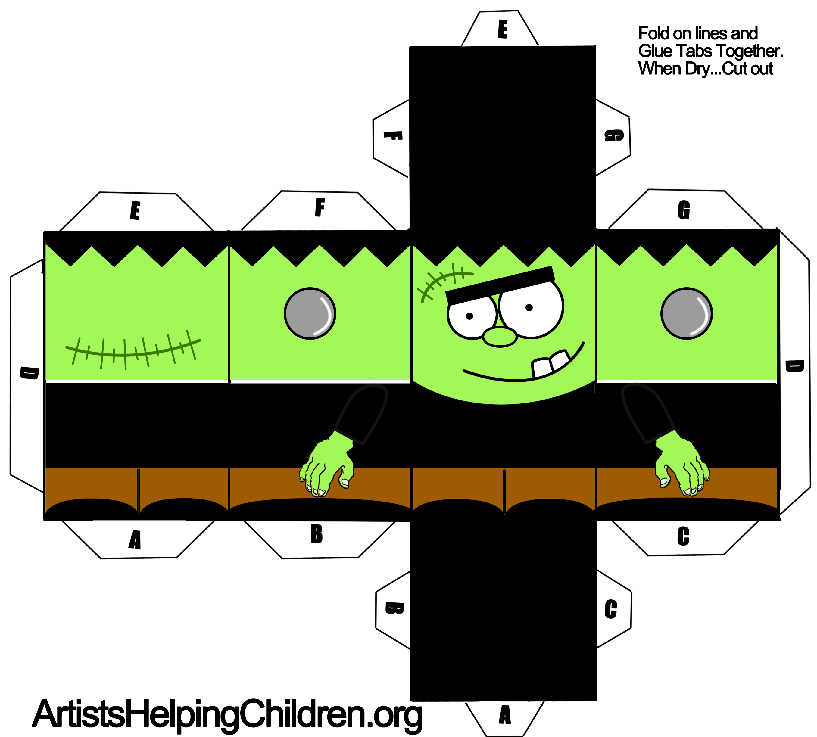 Frankenstein Foldable Paper Toy Craft For Halloween