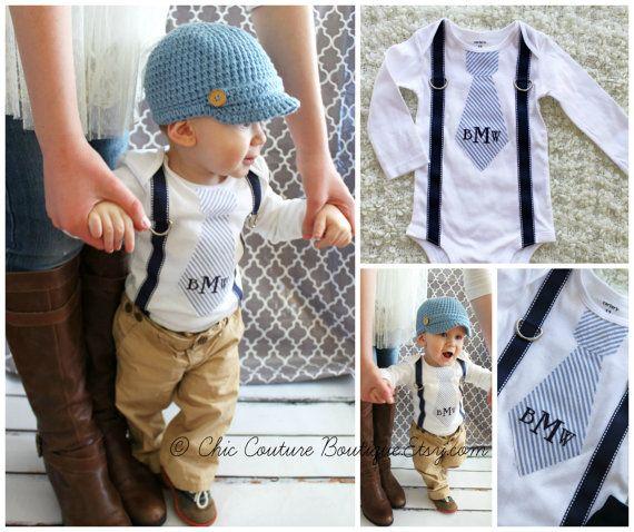 cbb4a8596 Baby Boy Baby Blue Seersucker Personalized Tie and Suspender ...