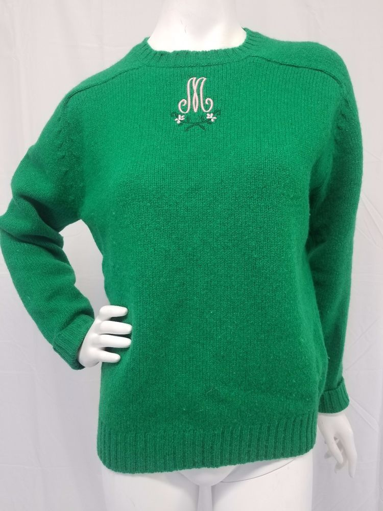 fb089a2950 Vtg 80s ASTON 100% Shetland Wool Sweater Kelly Green Pink