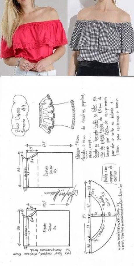 Macacão ombro a ombro com babado | DIY - molde, corte e costura ...