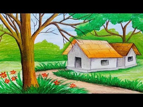 How To Draw Easy Scenery Youtube Easy Scenery Drawing Oil Pastel Drawings Oil Pastel Drawings Easy