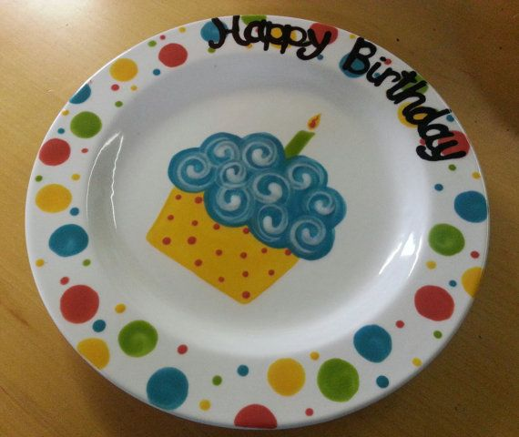 Ready to Ship - 9  Hand Painted Ceramic  Happy Birthday  Plate - Multi Color & Ready to Ship - 9