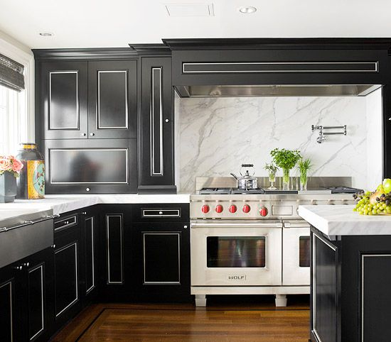 Our Most Beautiful Kitchens - Traditional Home® - MARBLE BACKSPLASH!!! BLACK CABINETS!!! I AM HOME!