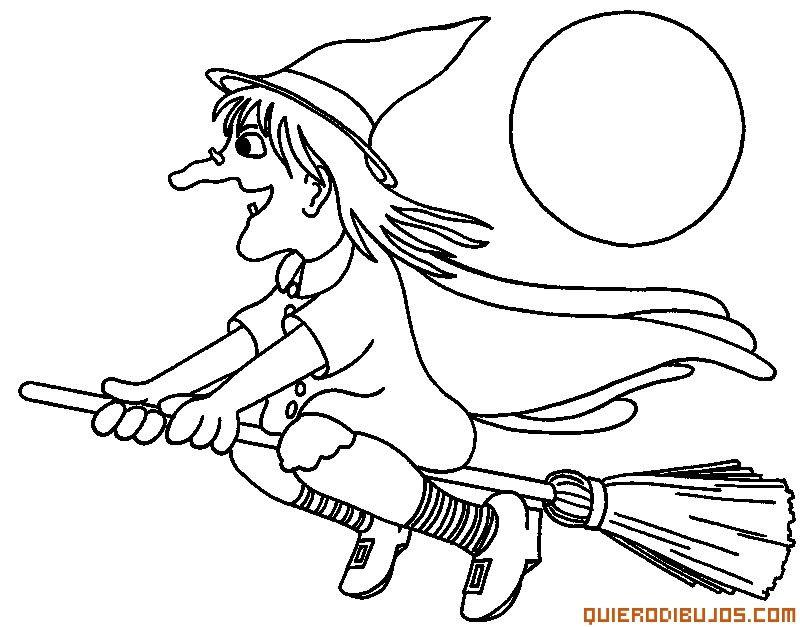 Bruja Volando en escoba | DIBU | Escobas, Halloween y Brujas