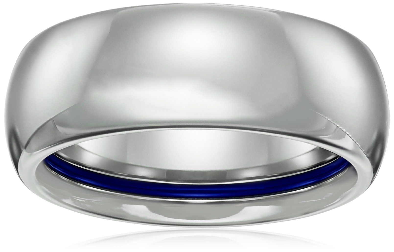 Sapphire Tungsten 8mm Classic Oval with Cobalt Inner