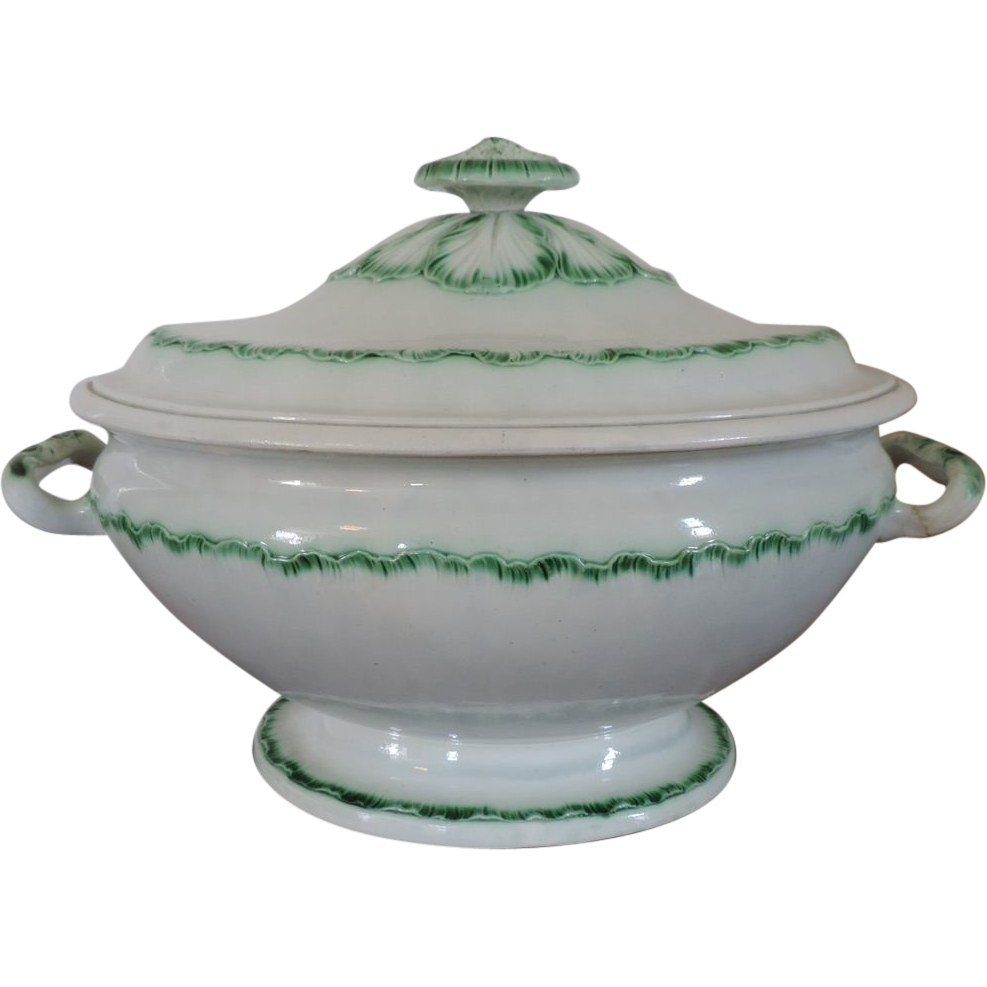 Large Antique 18th Century Leeds Pearlware Green Feather Edge Soup Tureen Tureen Antiques Creamware