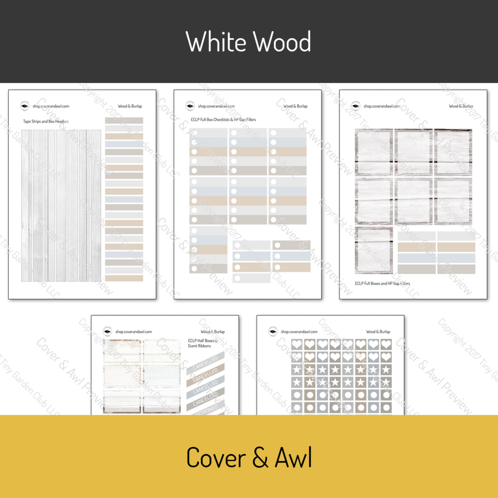 """White Wood Weekly Sticker Kit for Erin Condren Life Planners. Weekly sticker kits are printed on white permanent sticker paper. washi strips headers full boxes half boxes check lists ⅜"""" boxes rescheduled, canceled, postpon"""