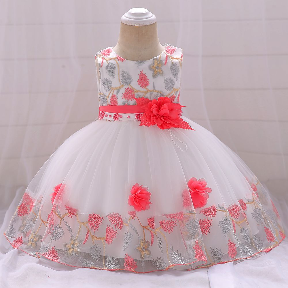 Baby / Toddler Floral Embroidered Beaded Belted Sleeveless Splice Tulle Party Dress #babygirlpartydresses