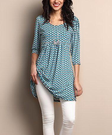 de0380b0ca1e83 Loving this Blue Geo Empire-Waist Tunic Dress on #zulily! #zulilyfinds