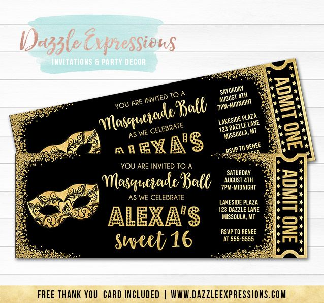 Printable Black and Gold Glitter Masquerade Ticket Birthday - prom ticket template