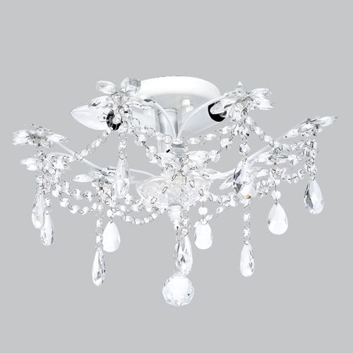 Jubilee Collection Crystal Flower White Three Light Semi