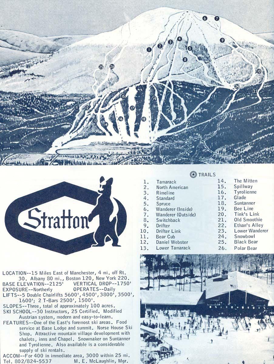 Skiing New England Map.1967 68 Stratton Mountain Trail Map New England Ski Map Database