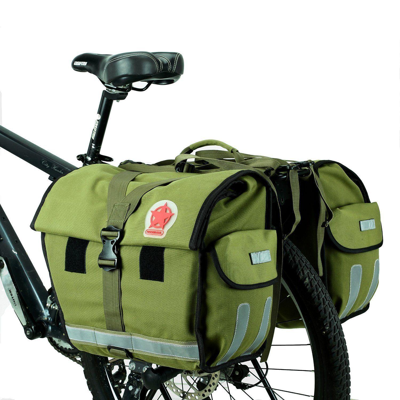 WATER RESISTANT DOUBLE BICYCLE PANNIER BAG REAR BIKE RACK CARRIER UK