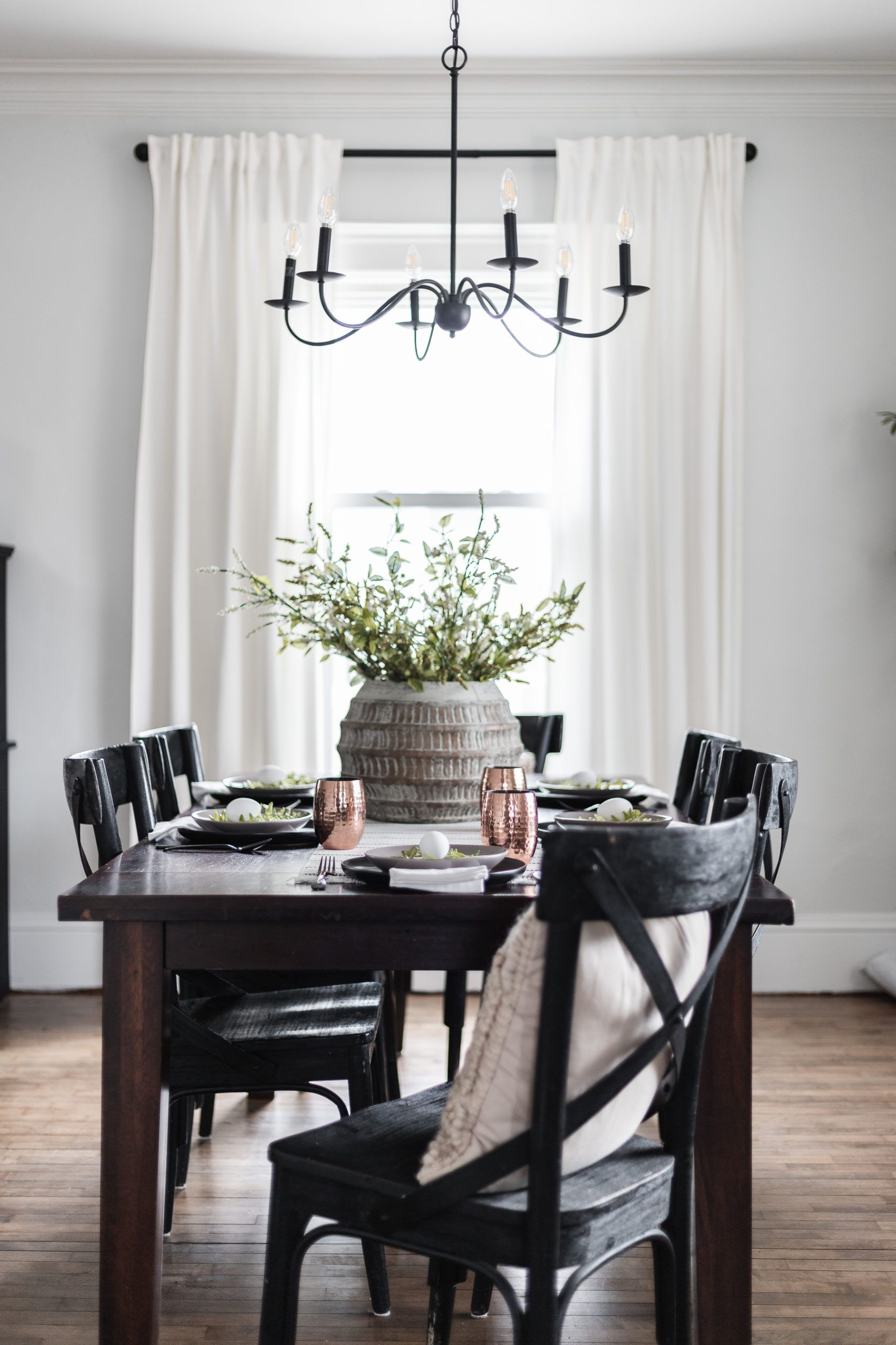 Modern Classic Easter Tablescape Cherished Bliss Dark Wood Dining Table Dark Wood Dining Room Dark Wood Dining Room Table