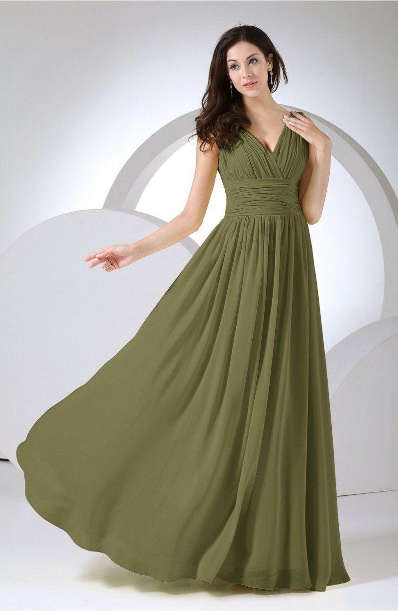 b72f58164ffe Olive Green Party Dress - Elegant A-line V-neck Sleeveless Floor Length  Long Ruching