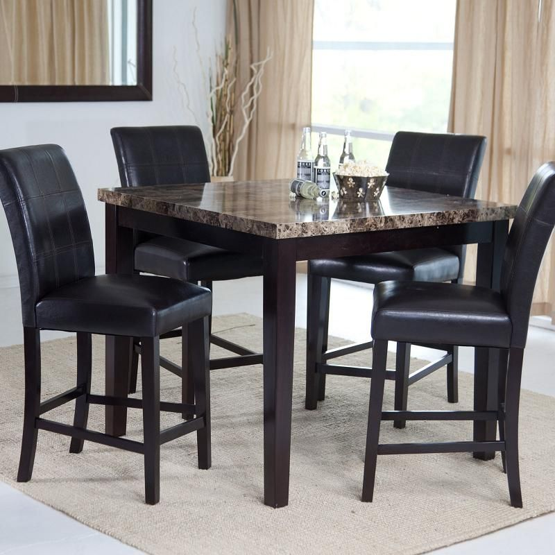 tall square dinner table | Marble veneerhigh diningtable ...