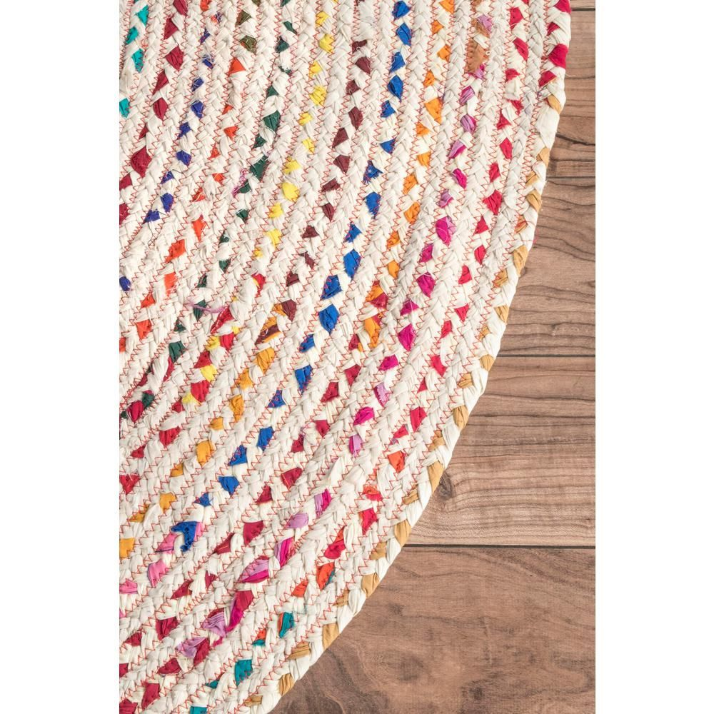 Nuloom Tammara Colorful Braided Ivory 6 Ft Round Rug Mgnm04c 606r