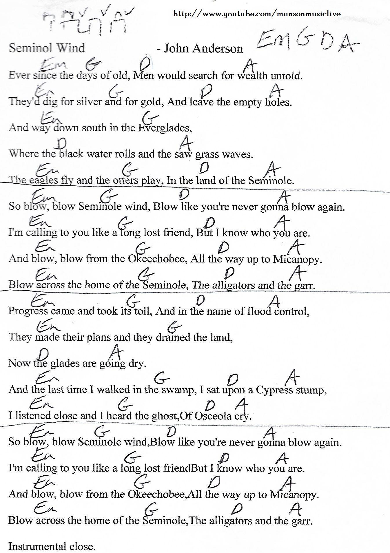 Seminole Wind John Anderson Guitar Chord Chart Ukulele
