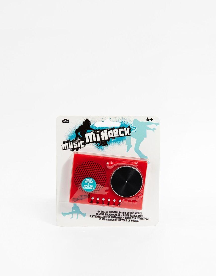"""Platine DJ Mini tourne-disque Avec six genres de musique différents Inclus : dubstep, grime et electro pop Fonctions pour mixer et déformer H : 7 cm/3"""". L : 10 cm/4""""."""
