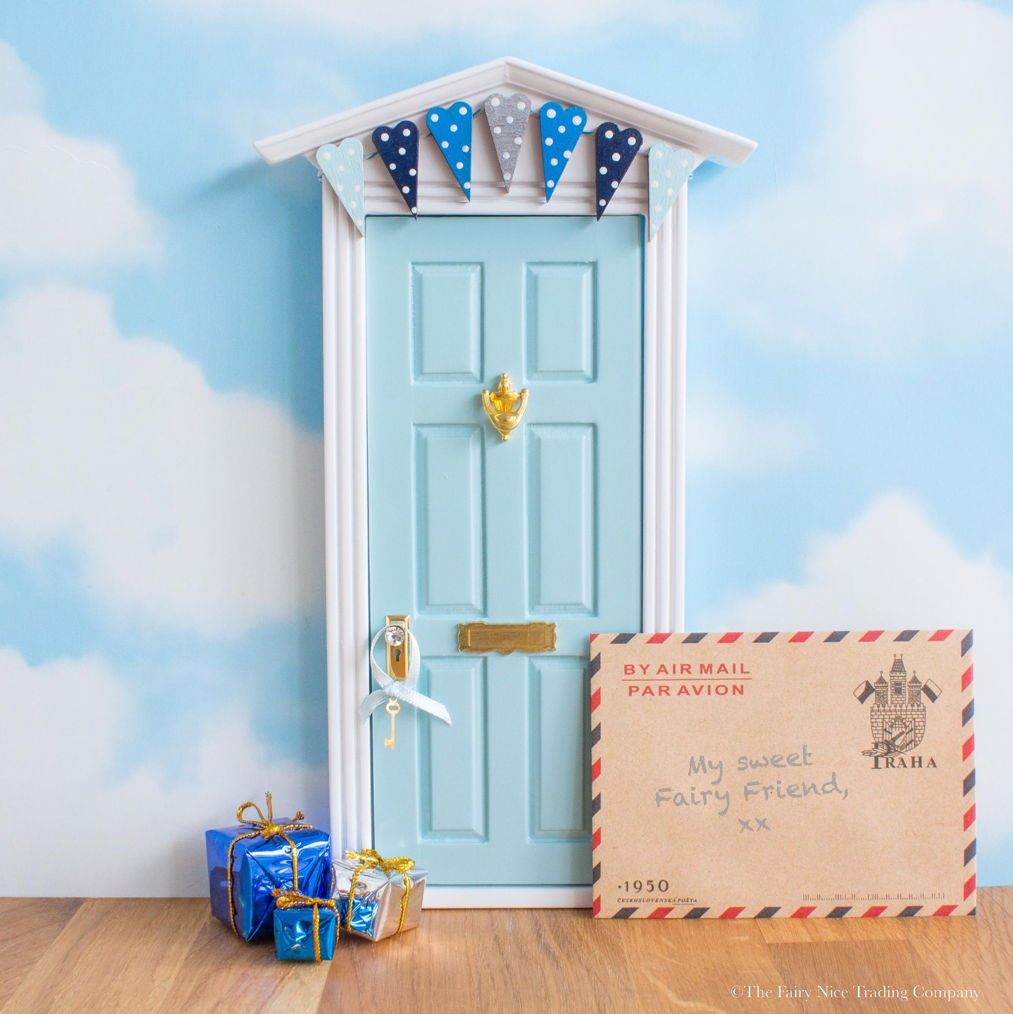 Beautiful Blue Baby Bunting Fairy Door Perfect New Baby Gift,