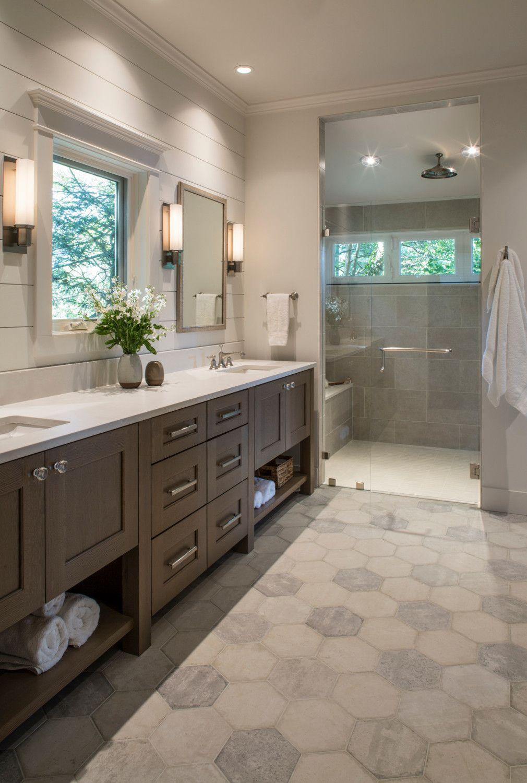 double shower  midsized transitional master gray tile